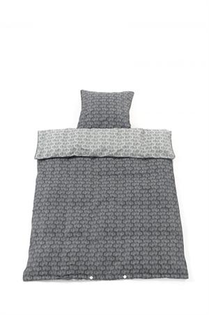 Billede af Smallstuff sengetøj, baby, Traktor - grå