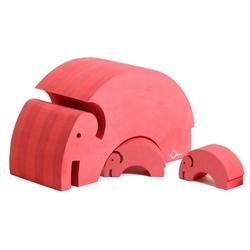 Rød elefant med unger, Bobles - 3 stk.