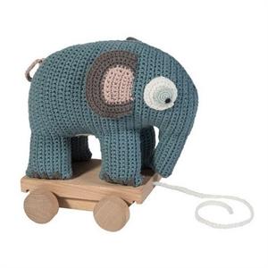 Sebra hæklet elefant på hjul, blå eller lilla